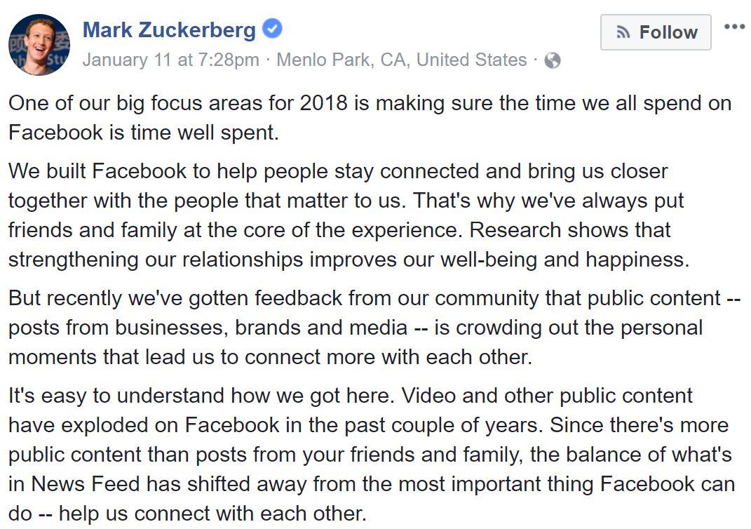 Facebook Changes Its Algorithm